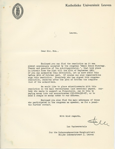 Letter from Luc Vanheerentals to Carolyn Ellingson, September 25, 1981
