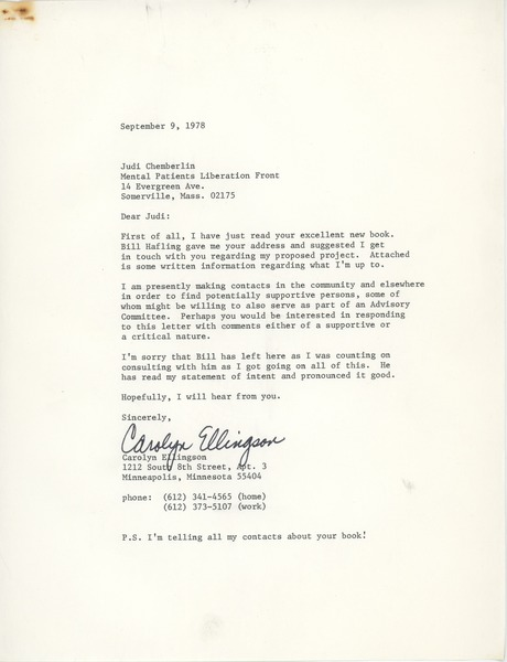 Letter from Carolyn Ellingson to Judi Chamberlin, September 9, 1978
