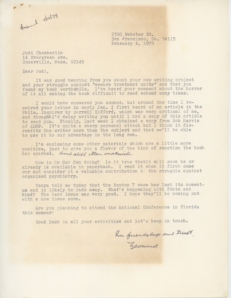 Letter from Leonard Roy Frank to Judi Chamberlin, February 4, 1979