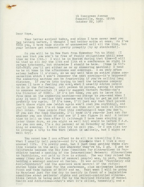 Letter from Judi Chamberlin to Hope Knútsson, October 22, 1980