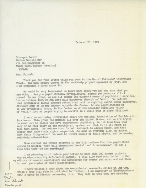 Letter from Judi Chamberlin to friends, October 23, 1989
