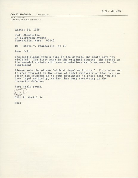 Letter from Olin R. McGill to Judi Chamberlin, August 21, 1985