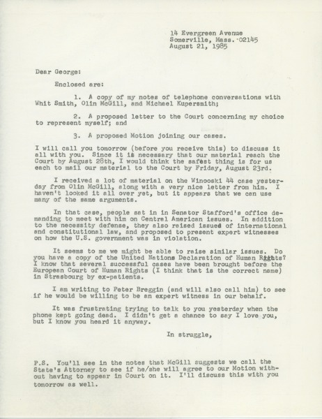 Letter from Judi Chamberlin to George Ebert, August 21, 1985