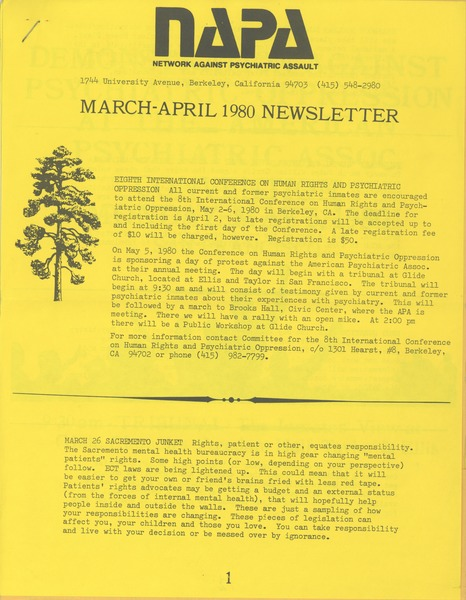NAPA March-April 1980 newsletter, March 1980–April 1980