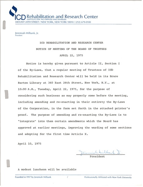 ICD rehabilitation and research center minutes of the meeting of the board of trustees, April 22, 1975