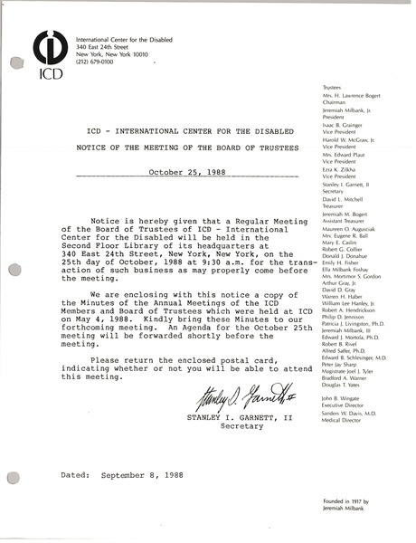 International center for the disabled minutes of the meeting of the board of trustees, October 25, 1988
