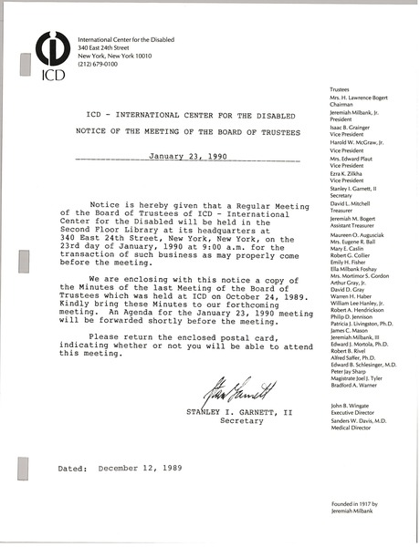 International center for the disabled minutes of the meeting of the board of trustees, January 23, 1990