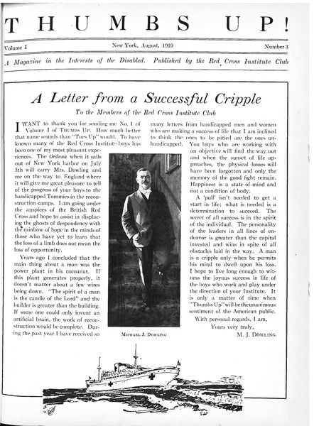 Thumbs up!: A magazine in the interests of the disabled: , August 1919