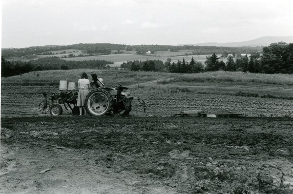 Tractor working a field in Vermont, ca. 1980