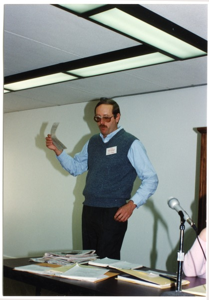 Low-input Sustainable Agriculture (LISA) seminar: unidentified man speaking at the seminar, March 1990