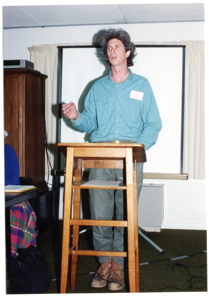 Low-input Sustainable Agriculture (LISA) seminar: Eric Sideman (MOFGA) speaking at the seminar, March 1990