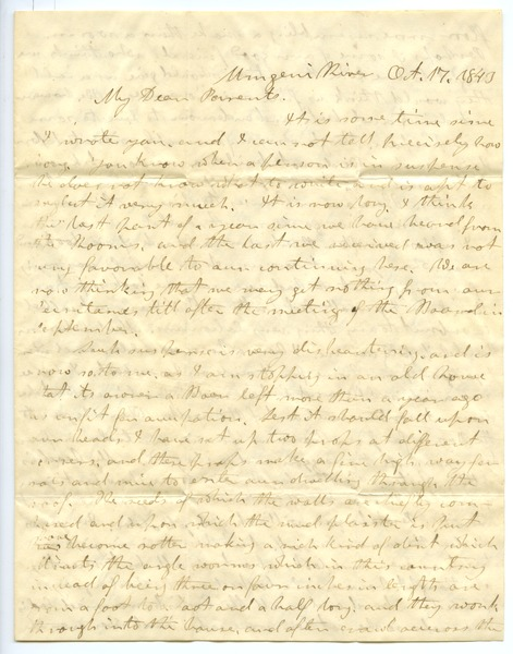 Letter from Aldin Grout to James and Elizabeth Bailey, October 17, 1843