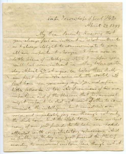 Letter from Aldin Grout to James and Elizabeth Bailey, April 29, 1844