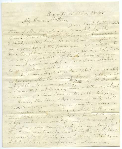 Letter from Aldin Grout to Elizabeth Bailey, November 10, 1845