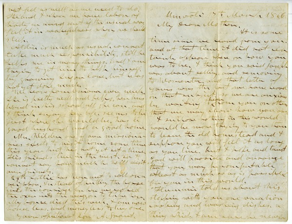 Letter from Aldin Grout to Elizabeth Bailey, March 17, 1866