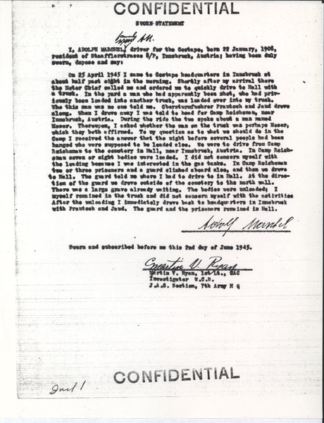 Deposition and report, June 2, 1945