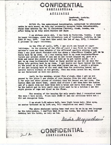 Confidential affadavit, June 10, 1945