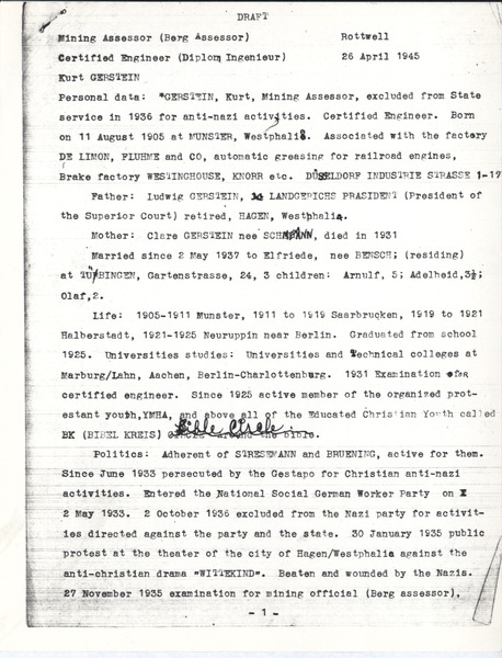 Intelligence report and deposition, April 26, 1945