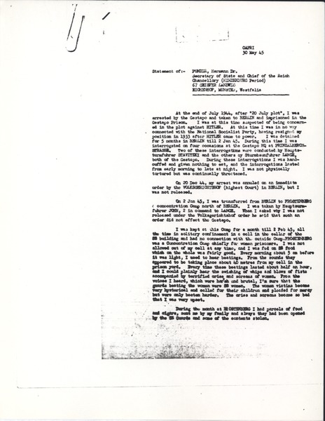 Deposition, May 30, 1945