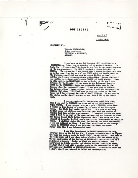 Deposition, May 23, 1945