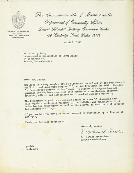 Letter from E. William Richardson to Timothy Foley, March 2, 1971