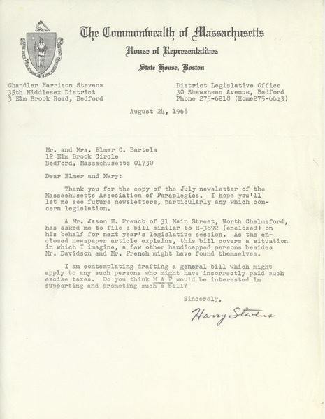 Letter from Chandler H. Stevens to Elmer C. Bartels and Mary T. Bartels, August 24, 1966