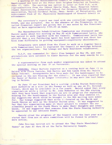 Massachusetts Council of Organizations of the Handicapped June meeting, June 17, 1969