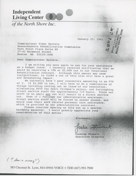 Letter from Lorelee Stewart to Elmer C. Bartels, January 23, 1992