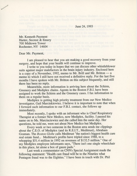 Letter from Lucy Gwin to Kenneth Payment, June 24, 1993