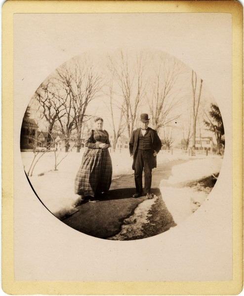 Mary and Hammond Brown outside their home, ca. 1890