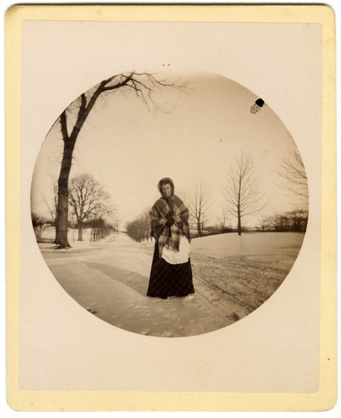 Annie Blanchard on Boston Post Road (East Main St.), Brookfield, in front of Elm Hill          Farm, ca. 1890