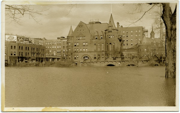 Aftermath of the great Hartford Flood: Flood waters by the YMCA building (corner of Ford and Pearl Streets): , ca. March 1936
