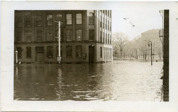 Aftermath of the great Hartford Flood: Flood waters by a Socony station (possibly 484 Main Street?, variant): , ca. March 1936