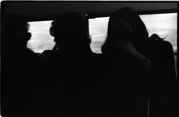 Crew inside the Free Spirit Press bus (underexposed), ca. November 1, 1972