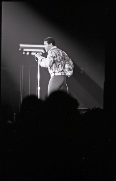 Richard Nader's Rock and Roll Revival concert at the Springfield Civic Center:             Chubby Checker in performance (washed out), December 26, 1972