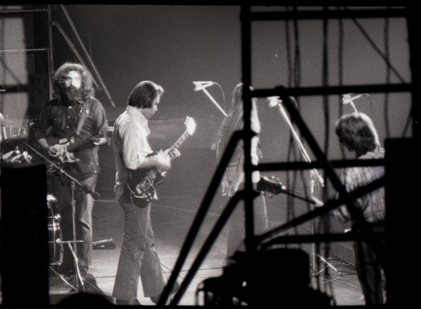 Grateful Dead concert at Springfield Civic Center: band in performance: Jerry             Garcia (facing camera) and Bob Weir (l. to r.), ca. March 28, 1973