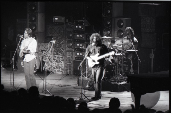 Grateful Dead concert at Springfield Civic Center: band in performance: Bob             Weir, Jerry Garcia, Bill Kreutzmann (l. to r.), ca. March 28, 1973