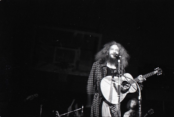 Jethro Tull in concert at the Springfield Civic Center: Ian Anderson with             acoustic guitar, ca. October 16, 1972