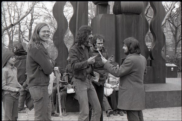 Commune members being interviewed by Channel 5 news: James Baker, Steve Wilhelm,             Richard Safft (l. to r.), ca. January 1973