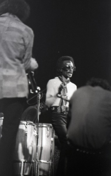 Miles Davis in performance: Miles Davis and band members, ca. January 1973