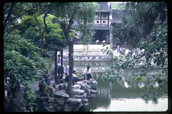Garden, pond, and buildings (probably at Tiger Hill Pagoda), June 1978