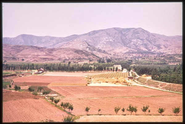 Aerial view of cultivated fields, mountains behind, June 1978