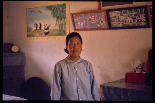 Woman in residence, probably a residence for oil workers, with poster of             pandas on the wall behind, June 1978
