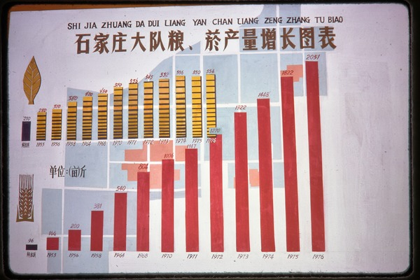 Shijiazhuang Production Brigade: poster touting productivity increases, June 1978