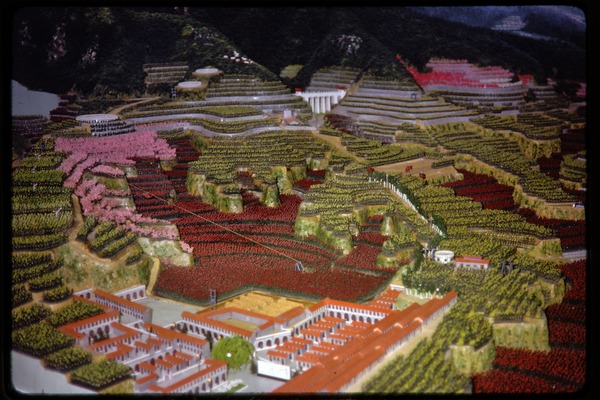Agricultural exhibition(?): model of village and landscape, June 1978
