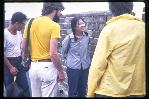 Tour guide and group on top of the Great Wall, June 1978