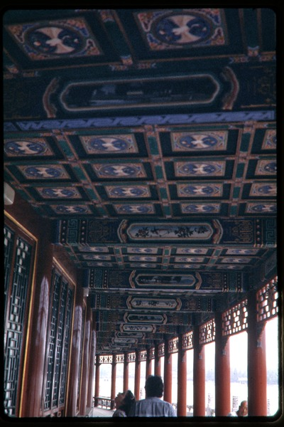 Visit to the Ming Tombs: decorated ceiling panels in open-air walkway, June 1978