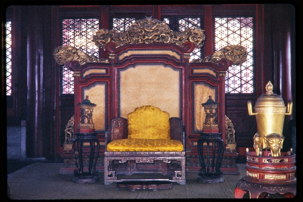 Forbidden City: throne in Hall of Middle Harmony, June 1978