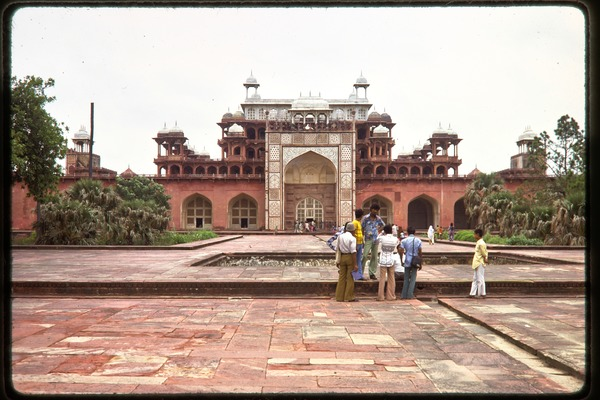 Trip to the Taj Mahal: group standing by at the Taj Mahal, ca. July 1978