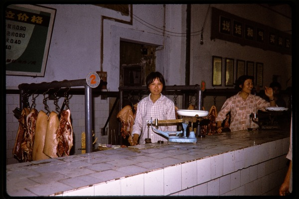 Butcher's stall in a market, June 1978